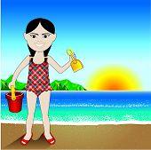 Beach Sand Chinese Girl Background