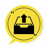 Black Upload Inbox Icon Isolated On White Background. Extract Files From Archive. Yellow Speech Bubb poster