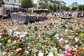 BERGEN - JUNE 27: Flowers at memorial to victims of massacre in Utoya on JUNE 27, 2011 in Bergen, No