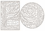 Set Contour Illustrations Of Stained Glass With The Image Of The Trees, Dark Contours On White Backg poster