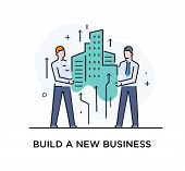 Businessmen Build A City Together.. Cooperation Interaction. Vector Illustration Eps 10 File. Succes poster