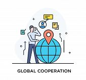 Businessman Making A Call Standing Next To The Globe. Virtual Communication Smartphone. Cooperation  poster