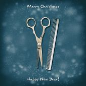 Hairdressing Scissors And Comb On A Dark Background. Happy New Year And Merry Christmas. Greeting Ca poster