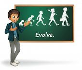 Illustratie van een zakenman die evolution presenteren