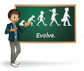 Illustration of a business man presenting evolution