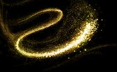 stock photo of glitz  - Gold glittering stars dust trail - JPG