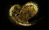 Heart of gold glittering stars dust trail