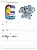 Hoja del alfabeto de la letra E