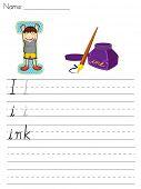 Hoja del alfabeto de la letra I