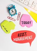 Writing Note Showing Asset Management. Business Photo Showcasing Analysisaged Investment Of Assets O poster