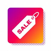 White Price Tag With An Inscription Sale Icon Isolated On White Background. Badge For Price. Promo T poster