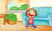 Illlustration of a kid crying at home - EPS VECTOR format also available in my portfolio.