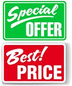 Two retail store window style signs Special Offer and Best Price