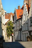 Typical Street In Brugges, Belgium