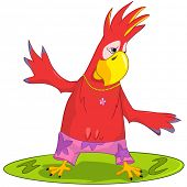 Cartoon Character Funny Parrot Isolated on White Background. Surfing. Vector EPS 10.
