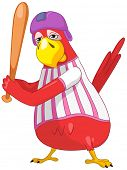 Cartoon Character Funny Parrot Isolated on White Background. Baseball. Vector EPS 10.