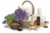 lavender spa (fresh lavender flowers in a basket,  essential oil, salt,  Herbal massage balls, zen s