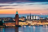 Stockholm, Sweden. Scenic Skyline View Of Famous Tower Of Stockholm City Hall And St. Clara Or Saint poster