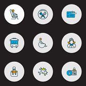 Airport Icons Colored Line Set With Bus, Airport Reception, Stewardess And Other Departure Elements. poster