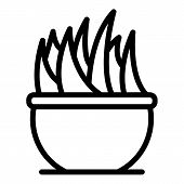 Flower In A Large Pot Icon. Outline Flower In A Large Pot Vector Icon For Web Design Isolated On Whi poster