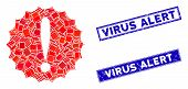 Mosaic Dangerous Conditions Icon And Rectangle Virus Alert Stamps. Flat Vector Dangerous Conditions  poster