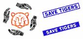 Mosaic Save Tigers Icon And Rectangular Save Tigers Seal Stamps. Flat Vector Save Tigers Mosaic Icon poster