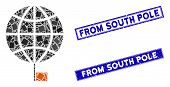 Mosaic South Pole Pictogram And Rectangular From South Pole Stamps. Flat Vector South Pole Mosaic Pi poster