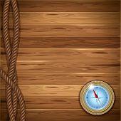 Fundo de madeira com corda e bússola