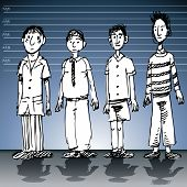 An image of a police line up wall with male suspects.