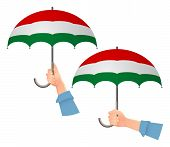 Hungary Flag Umbrella. Social Security Concept. National Flag Of Hungary  Illustration poster