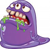 Purple cartoon blob monster. Vector illustration with simple gradients. All in a single layer.