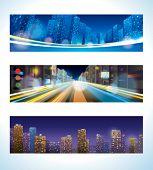 Urban Night. Vector banner set of city landscape, street lights, city panorama.