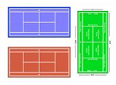 An exact scale illustration of a tennis court with markings and dimensions, depicting grass court, hard court and clay court.