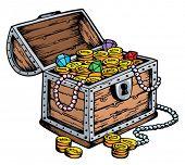 Treasure chest drawing - vector illustration.
