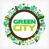 círculo com cidade verde - meio ambiente e ecologia