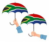 South Africa Flag Umbrella. Social Security Concept. National Flag Of South Africa Vector Illustrati poster