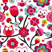 Seamless colourfull owl flower pattern for kids in vector