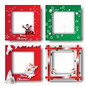 Merry Christmas And Happy New Year Border Frame Photo Design Set On Transparency Background.creative poster