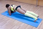 High Angle View Of Beautiful Healthy Sporty Enduring Graceful Strong Muscular Girl Doing Core Exerci poster