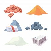 Construction Material Collection. Equipment For Builders Cement Sand Stones Pile Gypsum Block Bricks poster