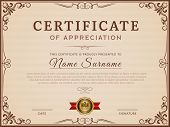 Certificate Template. Decorative Borders And Corners For Modern Certificate Vector Layout. Certifica poster