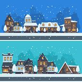 Snow Winter City. Urban Landscape With Christmas Season Houses Holiday Buildings Vector Landscape. I poster