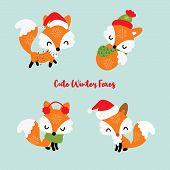 Set Of Four Little Winter Foxes With Christmas Lights, Scarft And Santa Hat. Decorative Elements For poster