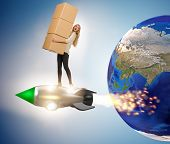 Woman flying jetpack and delivering boxes globally poster