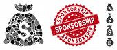 Mosaic Corrupted Fund Icon And Rubber Stamp Seal With Sponsorship Caption. Mosaic Vector Is Formed W poster