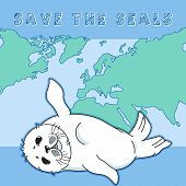 Cute Fur Seal, Save The Seals Slogan, Baby Nerpa On Worlds Ocean Background, Animal Extinction Probl poster