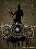 Party night background with disc jockey , mike and speakers on grungy brown background, can be use as flyer, banner or poster for discotheque, party and other events. EPS 10. Vector illustration.