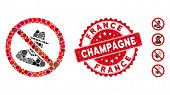 Mosaic No Spies Icon And Distressed Stamp Seal With France Champagne Caption. Mosaic Vector Is Compo poster