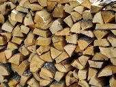 Stacked Firewood, A Large Pile Of Stacked Firewood. poster