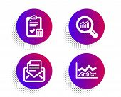 Mail Correspondence, Data Analysis And Accounting Checklist Icons Simple Set. Halftone Dots Button.  poster
